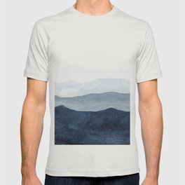 Indigo Abstract Watercolor Mountains T-shirt