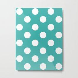 Large Polka Dots - White on Verdigris Metal Print