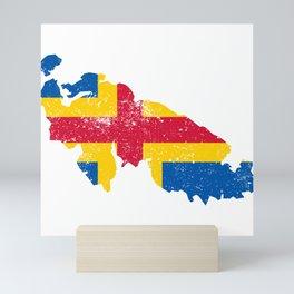 Distressed land Islands Map Mini Art Print