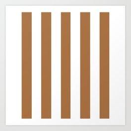 Metallic bronze - solid color - white vertical lines pattern Art Print