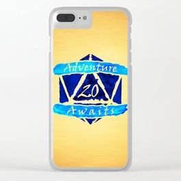 D20 Adventure Awaits Watercolor Cleric's Trail Clear iPhone Case