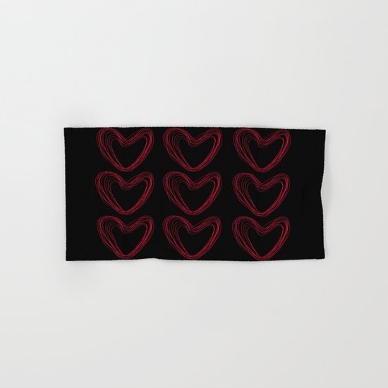 Red Hearts Hand & Bath Towel
