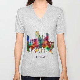 Tulsa Oklahoma Skyline Unisex V-Neck