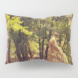 End of summer in park with trees and statue Pillow Sham