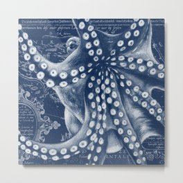 Octopus Vintage Map Blue Nautical Art Metal Print