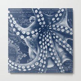 Octopus Vintage Map Blue Nautical Art Metal Print