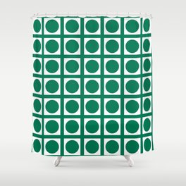 Emerald Elegant Grid Dots Shower Curtain