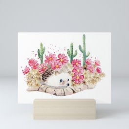 Camouflage - Hedgehog and Cactus Mini Art Print
