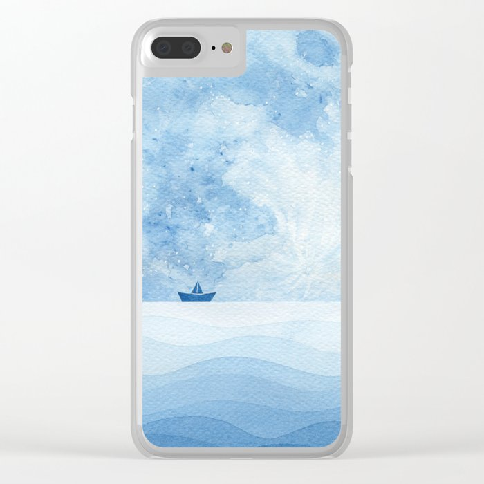 Full moon & paper boat Clear iPhone Case