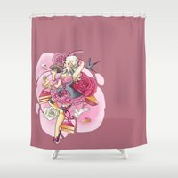 marie antoinette Shower Curtains featuring Marie Antoinette Pin Up by RevvyIllustrations