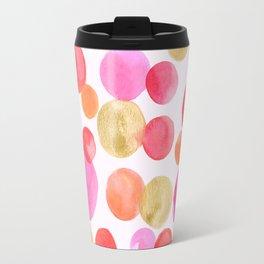 Shimmering Pink & Gold Bubbles Travel Mug