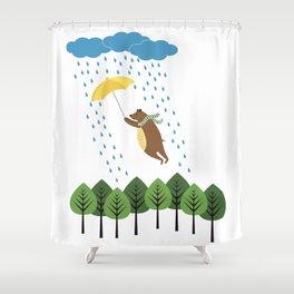 bear with umbrella Shower Curtain