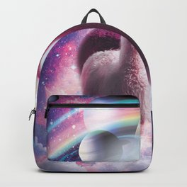 Crazy Funny Rainbow Llama In Space Backpack