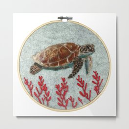 Sea Turtle Fiber Art Hoop Metal Print