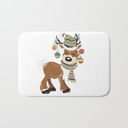 Christmas deer, with baubles in horns. Pretty childish design Bath Mat