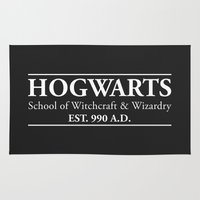 witchcraft Area & Throw Rugs featuring Hogwarts School of Witchcraft & Wizardry (Black) by IA Apparel