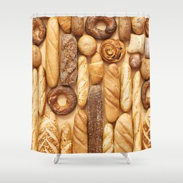 Bread baking rolls and croissants background Shower Curtain