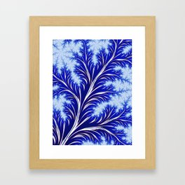 Abstract Blue Christmas Tree Branch with White Snowflakes Framed Art Print