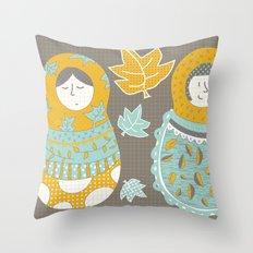 Autumnish mamushkas Throw Pillow