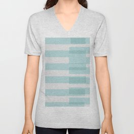 Big Stripes In Turquoise Unisex V-Neck