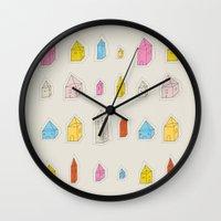 transparent Wall Clocks featuring Transparent Houses by Judy Kaufmann