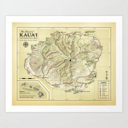 The Island of Kauai [vintage inspired] Topographic Map Art Print