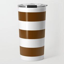 Philippine bronze - solid color - white stripes pattern Travel Mug