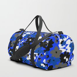 SUNFLOWER TRELLIS BLUE BLACK GRAY AND WHITE TOILE Duffle Bag