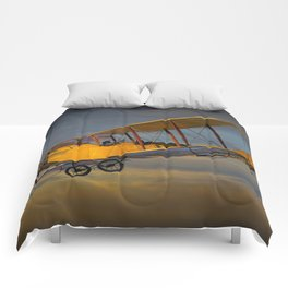 Yellow Biplane with Sunset Cloudy Sky Comforters