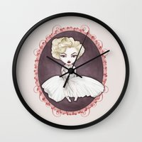 marylin monroe Wall Clocks featuring Sparkling Marylin by Zazie-bulles