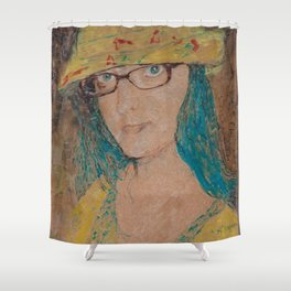 Encaustic painting of Elise by Karen Chapman Shower Curtain