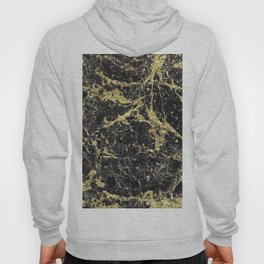 Marble - Glittery Gold Marble on Black Design Hoody