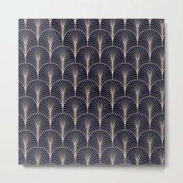 Art Deco Midnight Pattern Dark Blue Gold Metal Print