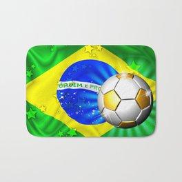 Brazil Flag Gold Green and Soccer Ball Bath Mat