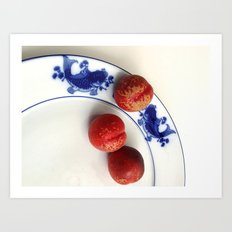 Pond and red plum Art Print