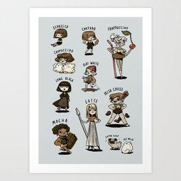 Coffee characters Art Print
