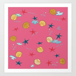 seashells and starfishes - pink Art Print