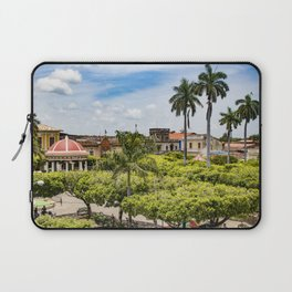 Red Gazebo and Trees Lining the Parque Colon de Granada in Nicaragua Laptop Sleeve