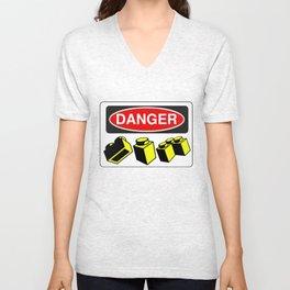 Danger Bricks by Chillee Wilson Unisex V-Neck