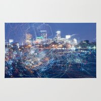 minneapolis Area & Throw Rugs featuring Minneapolis Neon by Andrew C. Kurcan