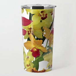 Orchids - Hot Colors! On white Travel Mug