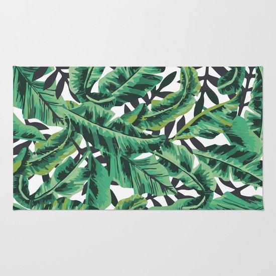 Tropical Glam Banana Leaf Print Rug By Nikki Society6
