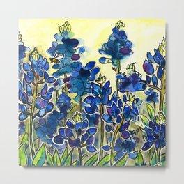 Texas Bluebonnets Watercolor Metal Print