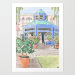 Mizner Park Boca Raton, Florida Watercolor Illustration/ Boca Raton Mizner Park Walking Street Art Art Print