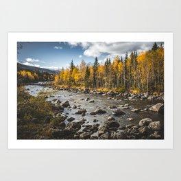 Autumn Vibes. || Colourful Norwegian Nature. || Travel Landscapes. || Mountain River. || Landscape. Art Print