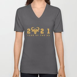 Happy Chinese New Year Zodiac Calendar Year Of The Ox 2021 Unisex V-Neck