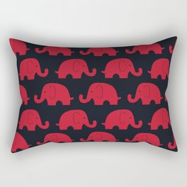 Elephants Red Rectangular Pillow