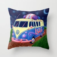 hippie Throw Pillows featuring Hippie Van by whiterabbitart