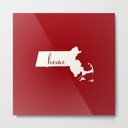 Massachusetts is Home - White on Red Metal Print