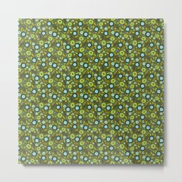 Apple green and dark blue flower-pattern on olive background Metal Print